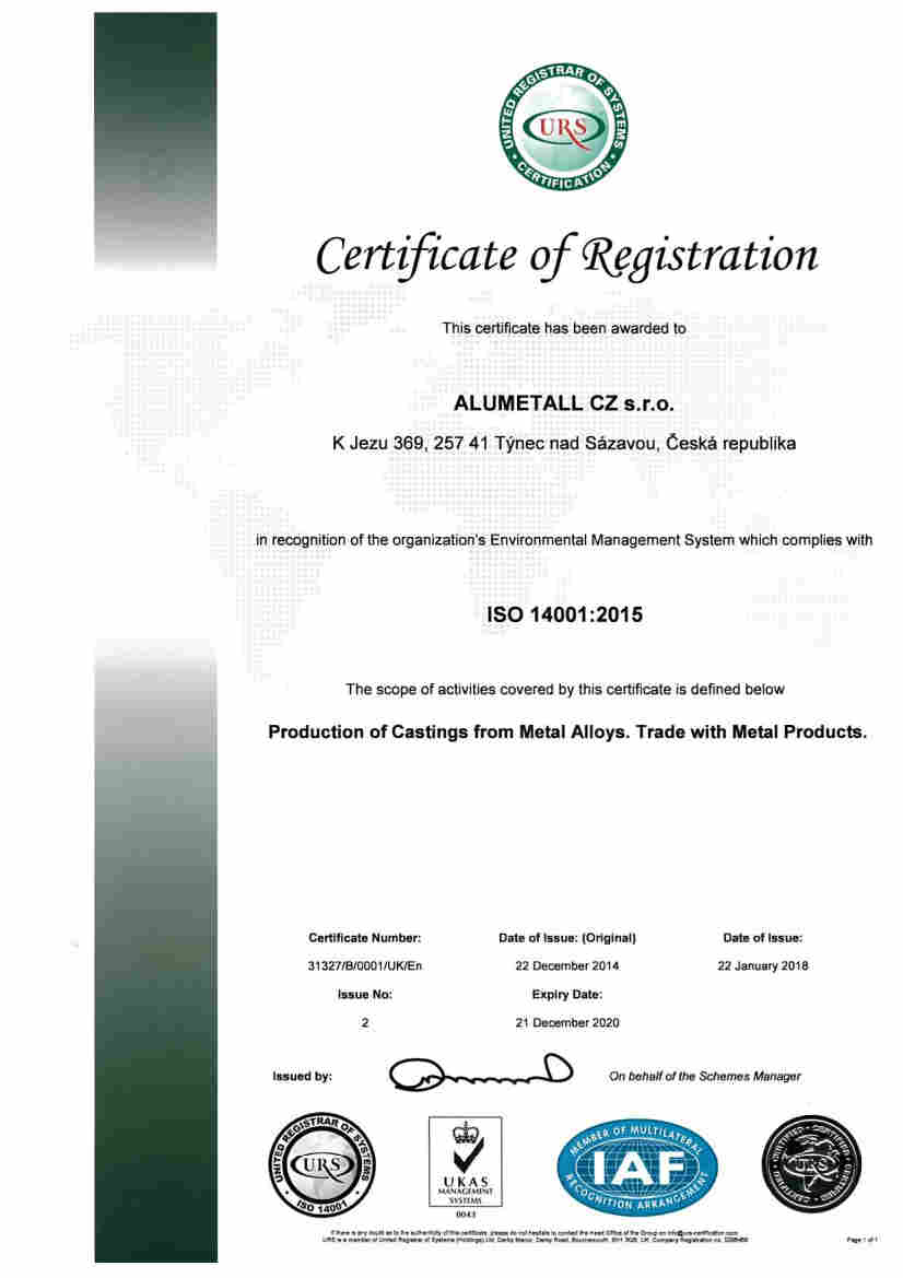 Alumetall ISO 14001 certificate English