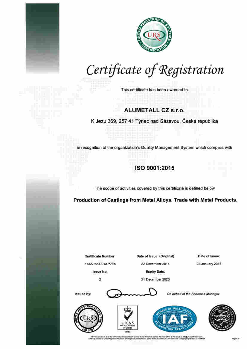 Alumetall ISO 9001 certificate English